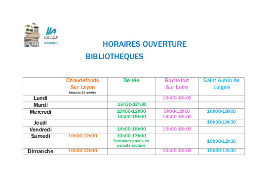 horaires ouverture rentree 2020